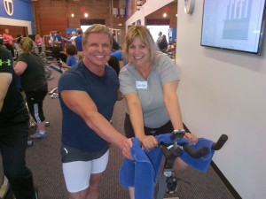 Bill and Transformation Camp participant, Carolyn having fun working out! Carolyn lost 22 lbs of unhealthy weight in the 12 weeks following this photo! Good Job